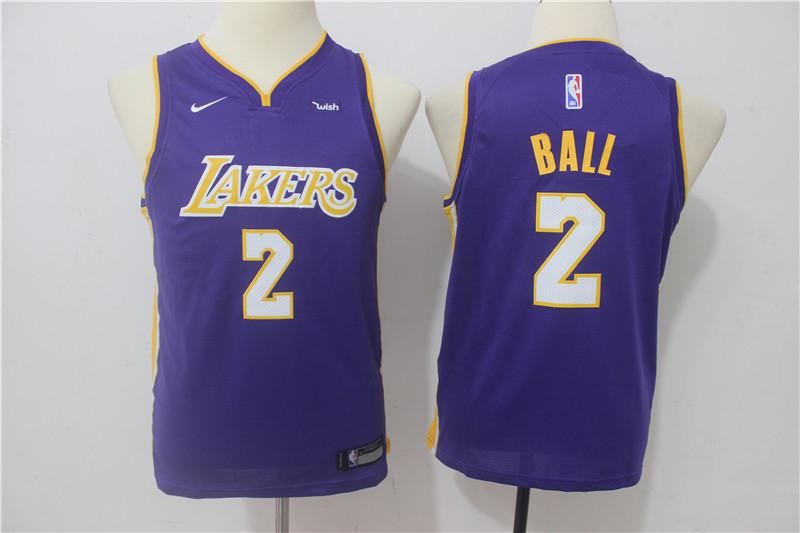Lakers 2 Lonzo Ball Purple Youth Nike Swingman Jersey