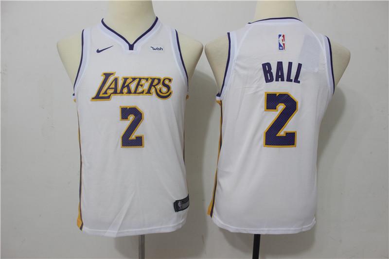 Lakers 2 Lonzo Ball White Youth Nike Swingman Jersey