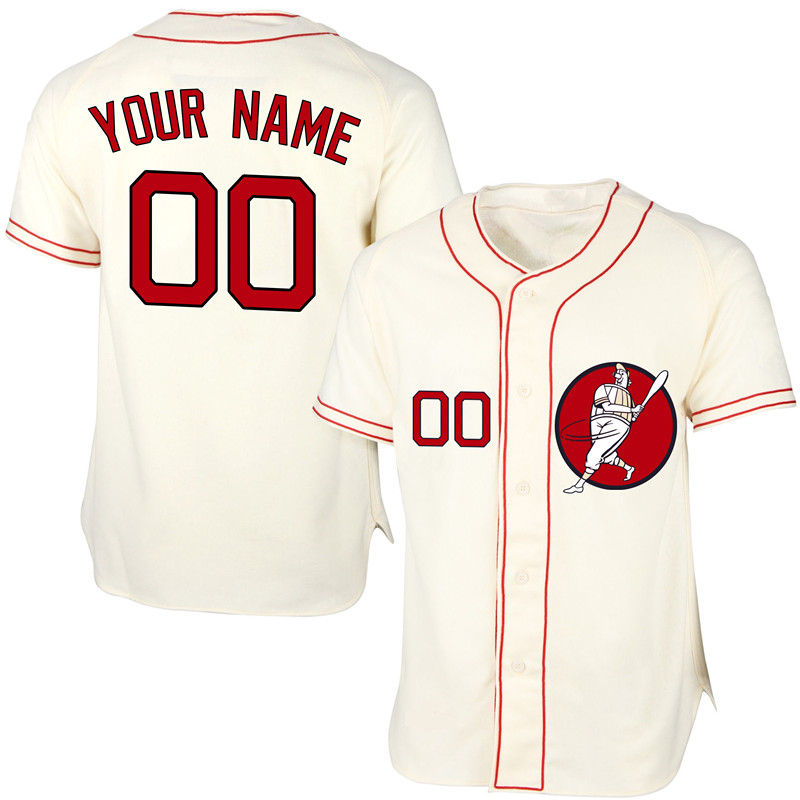 Red Sox Cream Men's Customized New Design Jersey