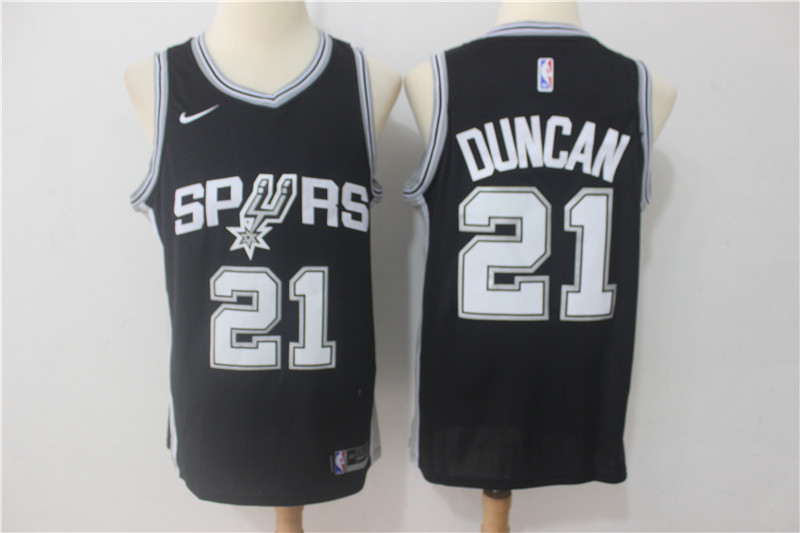 Spurs 21 Tim Duncan Black Nike Swingman Jersey