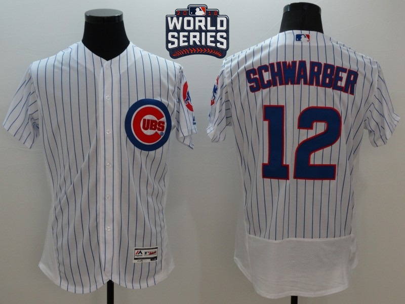 Cubs 12 Kyle Schwarber White 2016 World Series Flexbase Jersey