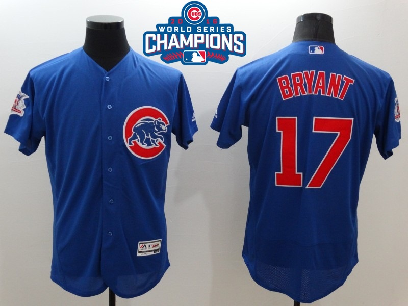 Cubs 17 Kris Bryant Royal 2016 World Series Champions Flexbase Jersey