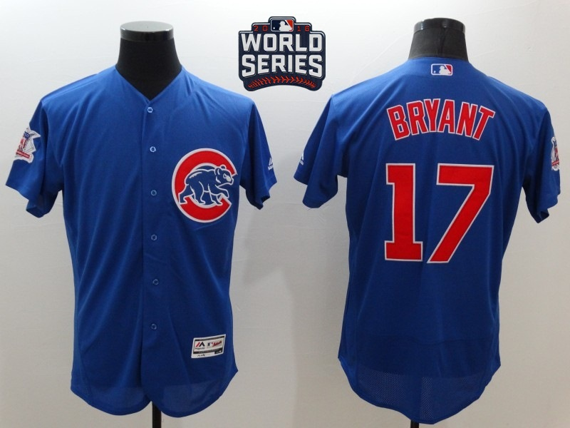 Cubs 17 Kris Bryant Royal 2016 World Series Flexbase Jersey