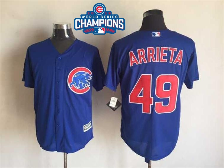 Cubs 49 Jake Arrieta Royal 2016 World Series Champions Flexbase Jersey