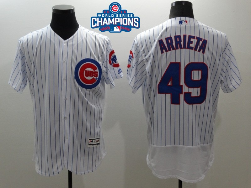Cubs 49 Jake Arrieta White 2016 World Series Champions Flexbase Jersey