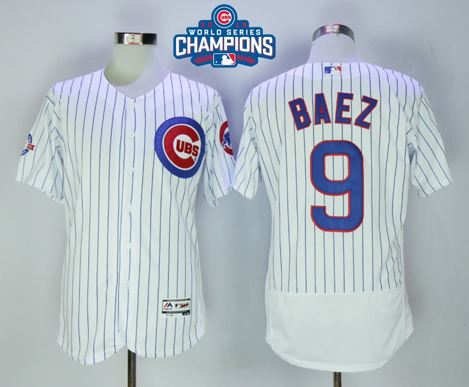 Cubs 9 Javier Baez White 2016 World Series Champions Flexbase Jersey