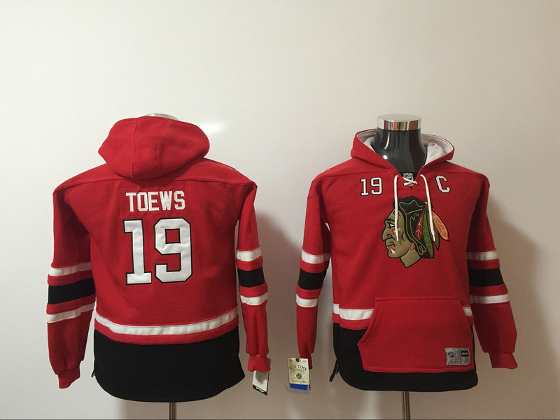 Chicago Blackhawks 19 Jonathan Toews Red Youth All Stitched Hooded Sweatshirt