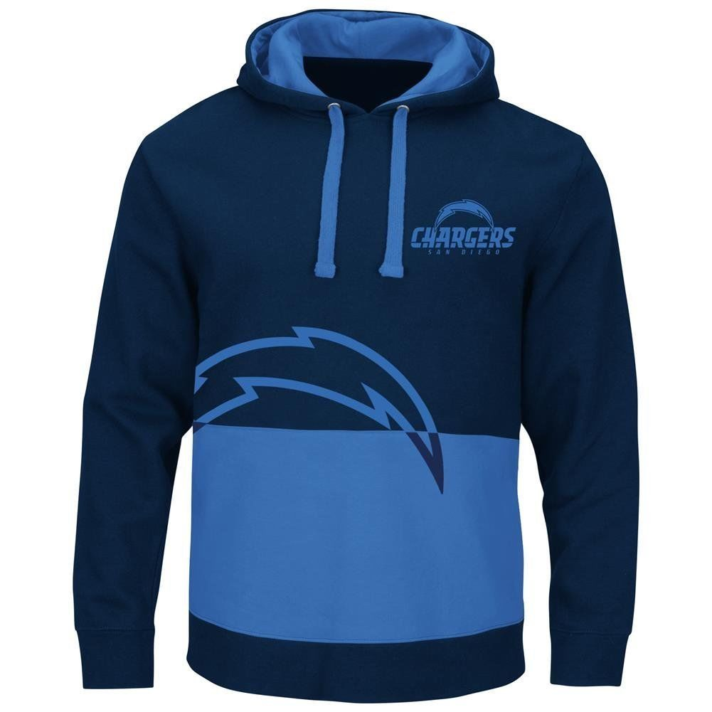 Los Angeles Chargers Navy & Blue Split All Stitched Hooded Sweatshirt