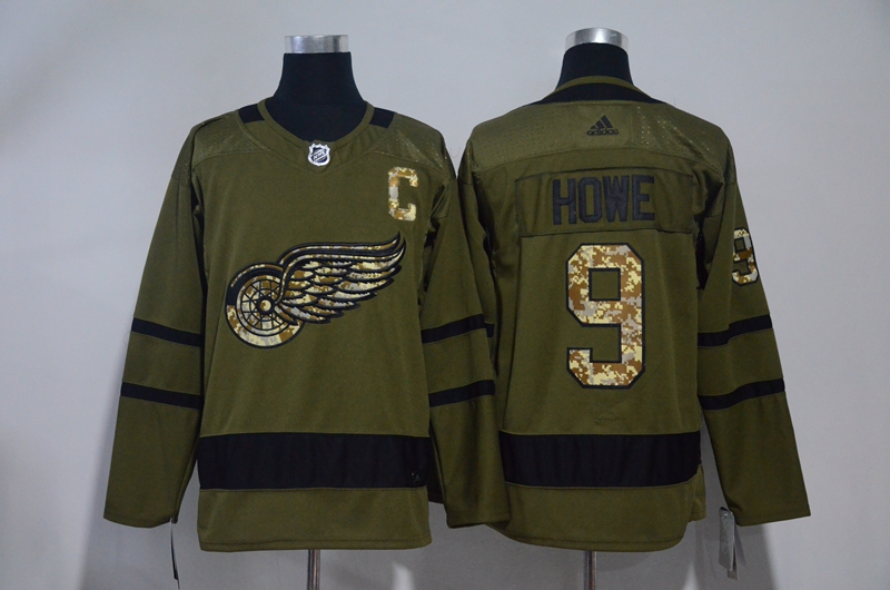Red Wings 9 Gordie Howe Olive Green Adidas Jersey
