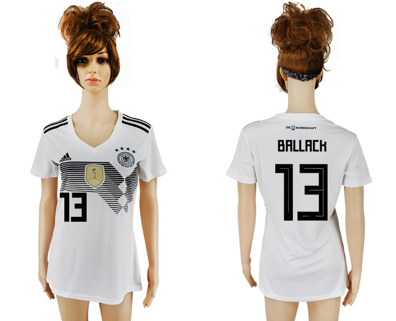 Germany 13 BALLACK Home 2018 FIFA World Cup Women Soccer Jersey