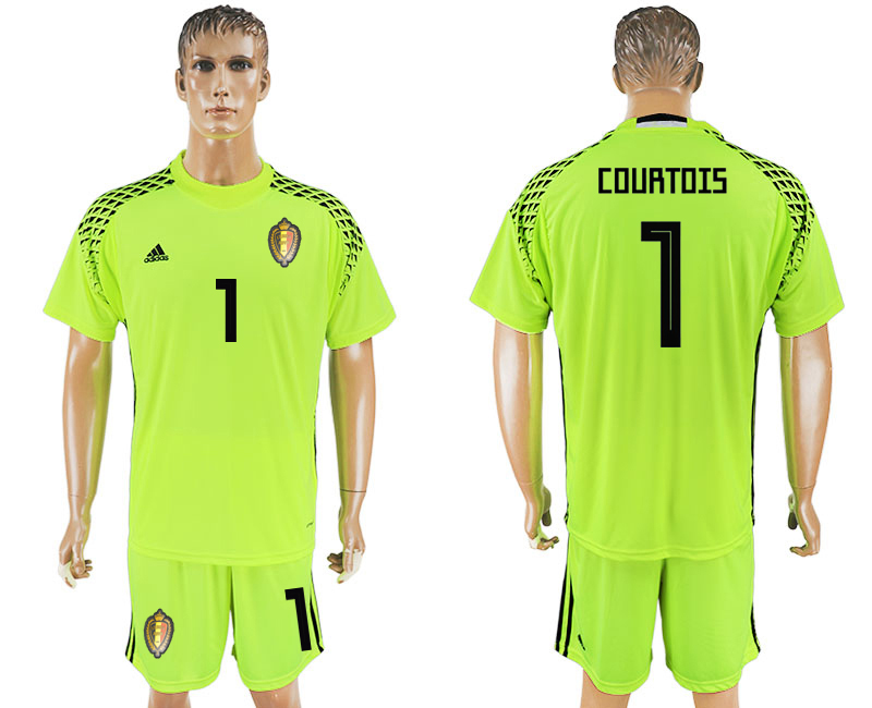 Belgium 1 COURTOIS Fluorescent Green Goalkeeper 2018 FIFA World Cup Soccer Jersey