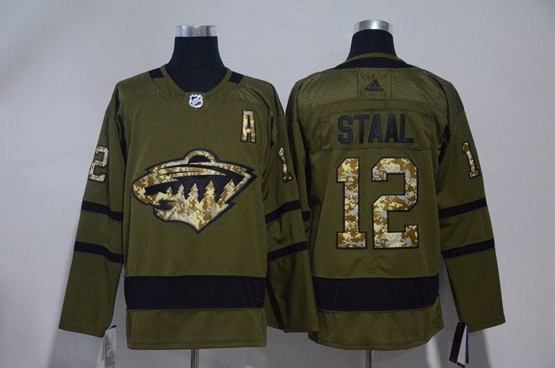Wild 12 Eric Staal Olive Green Adidas Jersey