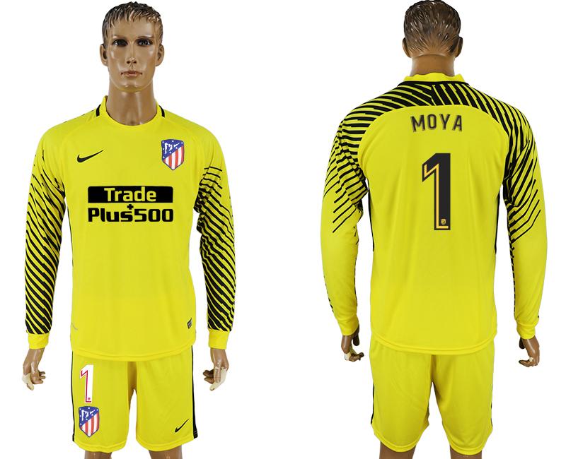 2017-18 Atletico Madrid 1 MOYA Yellow Long Sleeve Goalkeeper Soccer Jersey