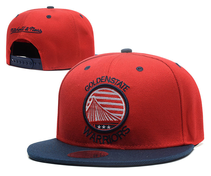 Warriors Team Logo Red Mitchell & Ness Adjustable Hat GS2