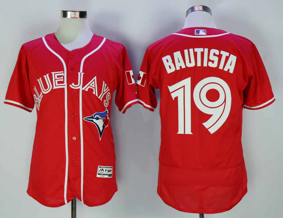 Blue Jays 19 Jose Bautista Red Alternate Flexbase Jersey
