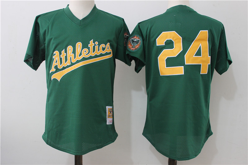 Athletics 24 Rickey Henderson Green 1998 Cooperstown Collection Batting Practice Jersey
