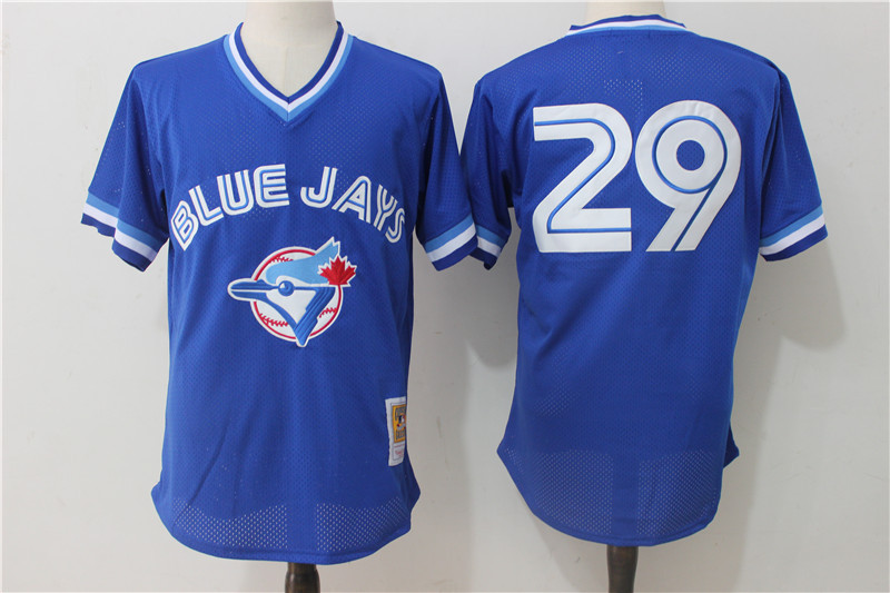 Blue Jays 29 Joe Carter Blue 1993 Cooperstown Collection Mesh Batting Practice Jersey