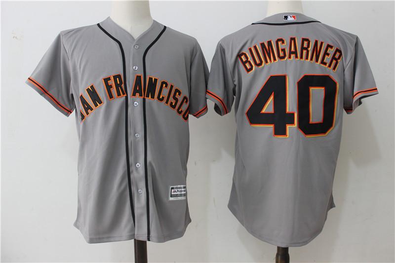 Giants 40 Madison Bumgarner Gray Alternate Cool Base Jersey