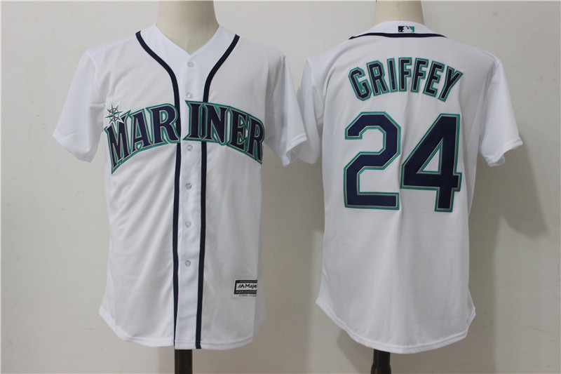 Mariners 24 Ken Griffey Jr. White Cool Base Jersey