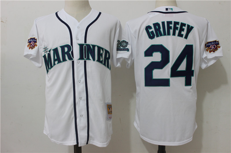Mariners 24 Ken Griffey Jr. White With 50th Anniversary Patch Cool Base Jersey