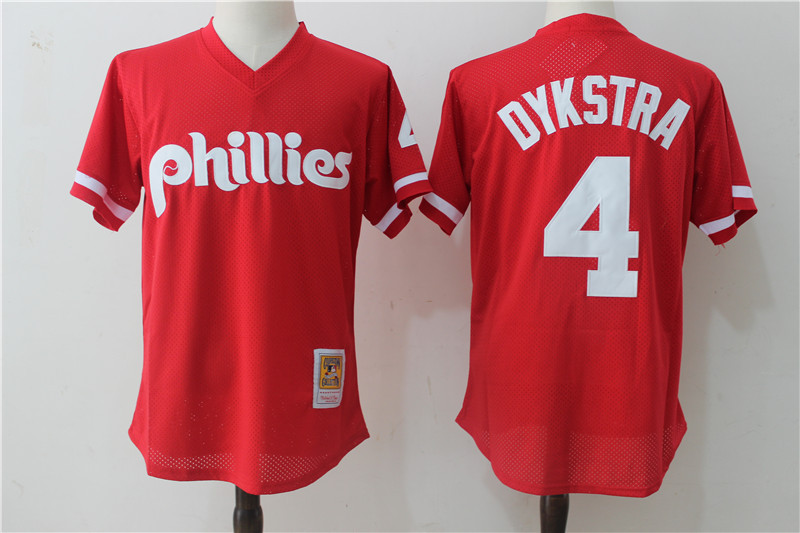Phillies 4 Lenny Dykstra Red Cooperstown Collection Mesh Batting Practice Jersey