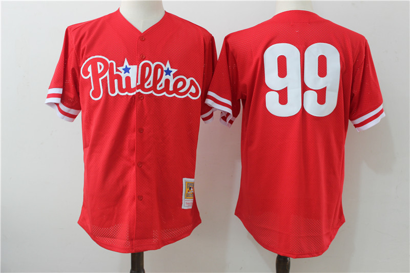 Phillies 99 Mitch Williams Red Cooperstown Collection Jersey