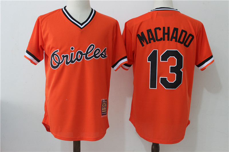 Orioles 13 Manny Machado Orange Cooperstown Collection Jersey