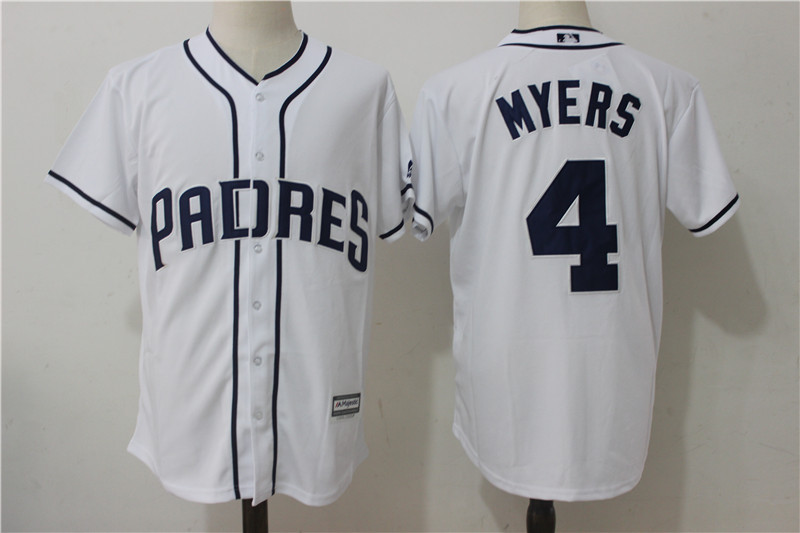 Padres 4 Wil Myers White Cool Base Jersey