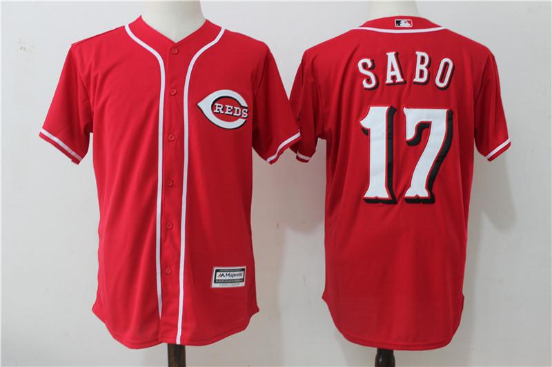 Reds 17 Chris Sabo Red Cool Base Jersey