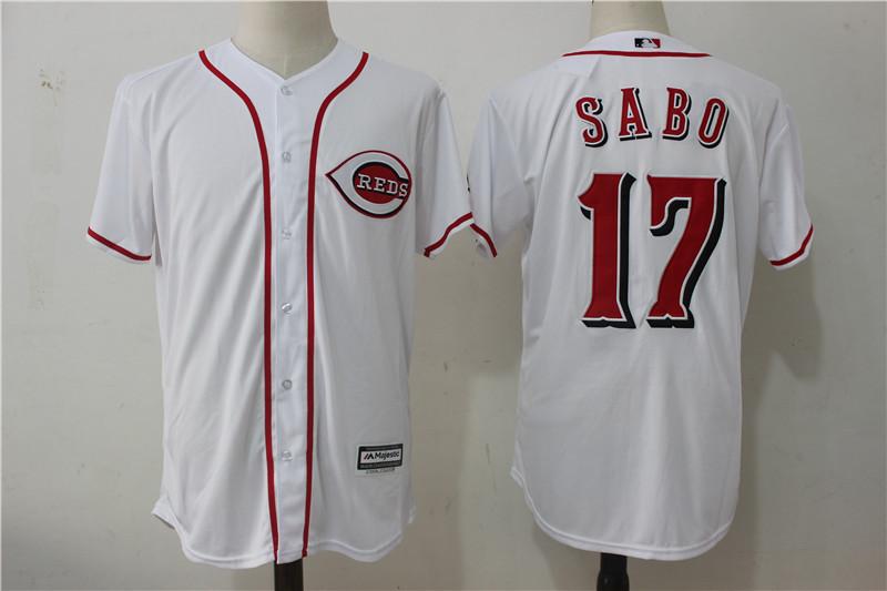 Reds 17 Chris Sabo White Cool Base Jersey