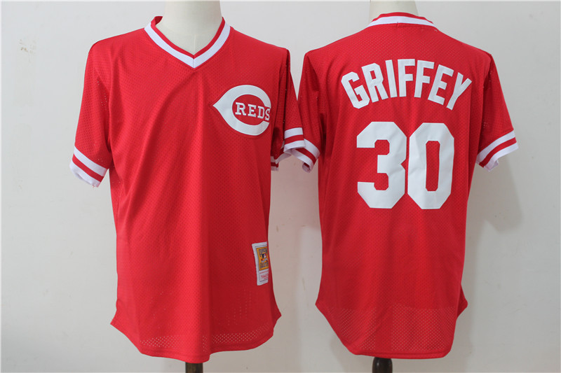 Reds 30 Ken Griffey Jr Red Cooperstown Collection Mesh Batting Practice Jersey