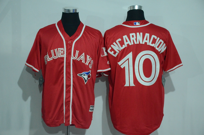 Blue Jays 10 Edwin Encarnacion Red Alternate Cool Base Jersey