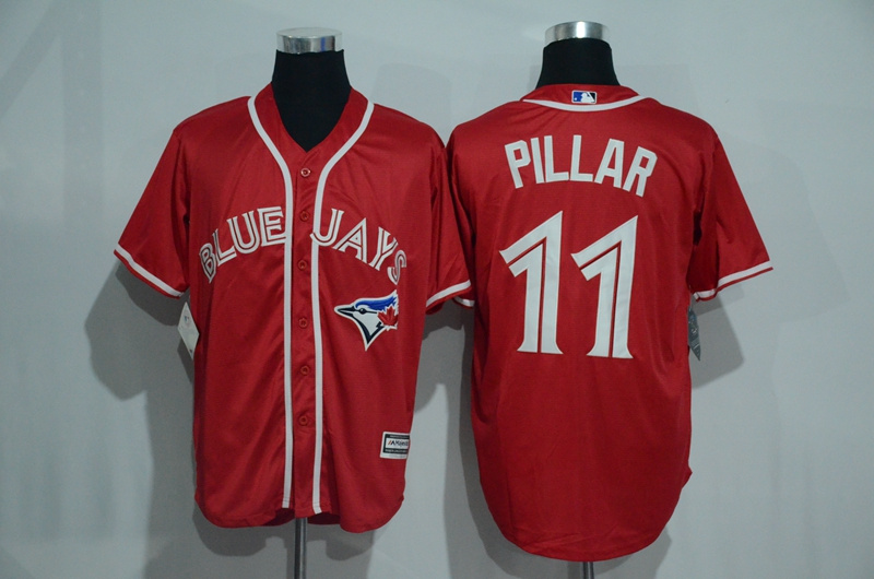 Blue Jays 11 Kevin Pillar Red Alternate Cool Base Jersey