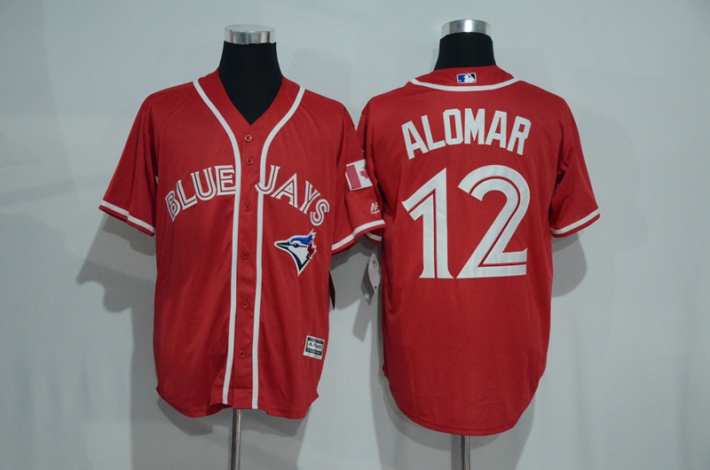 Blue Jays 12 Roberto Alomar Red Alternate Cool Base Jersey