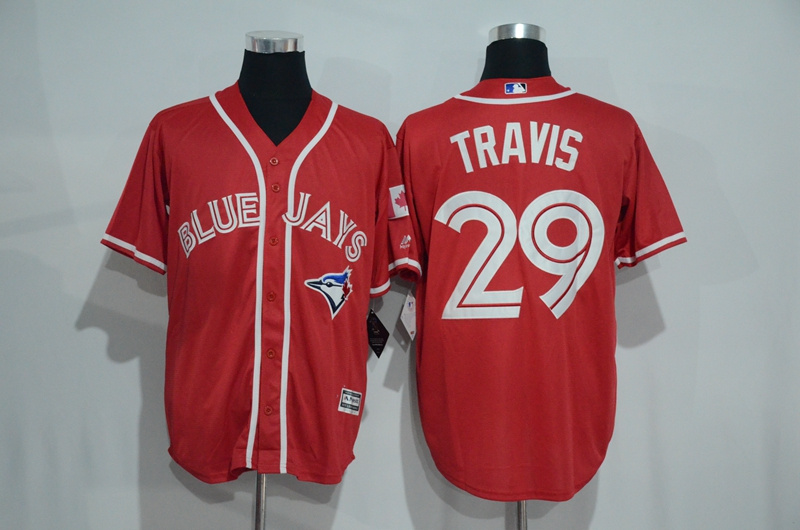 Blue Jays 29 Devon Travis Red Alternate Cool Base Jersey