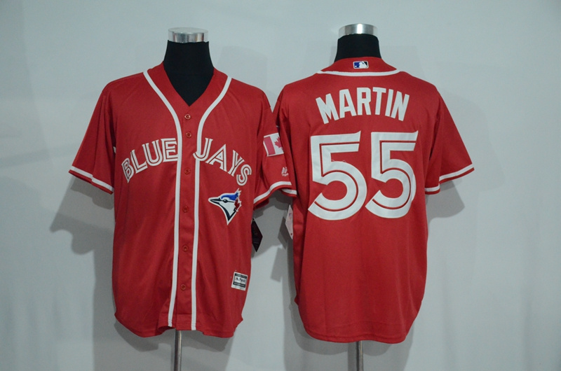 Blue Jays 55 Russell Martin Red Alternate Cool Base Jersey