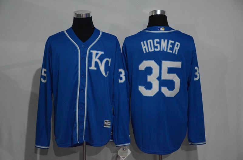 Royals 35 Eric Hosmer Blue Long Sleeve Cool Base Jersey