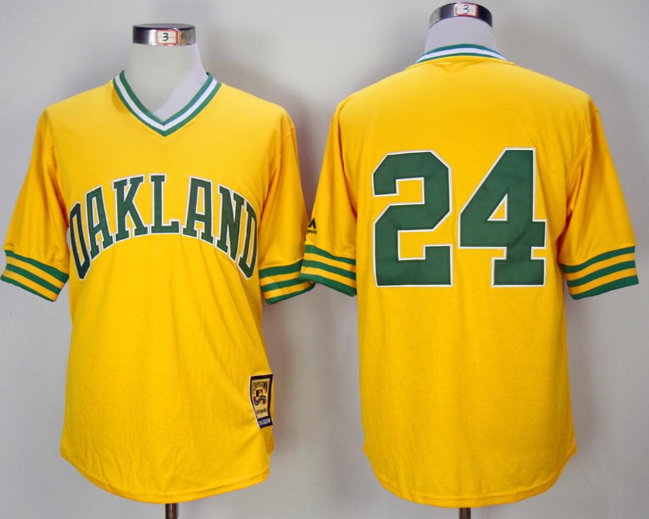 Athletics 24 Rickey Henderson Yellow 1981 Mitchell & Ness Jersey