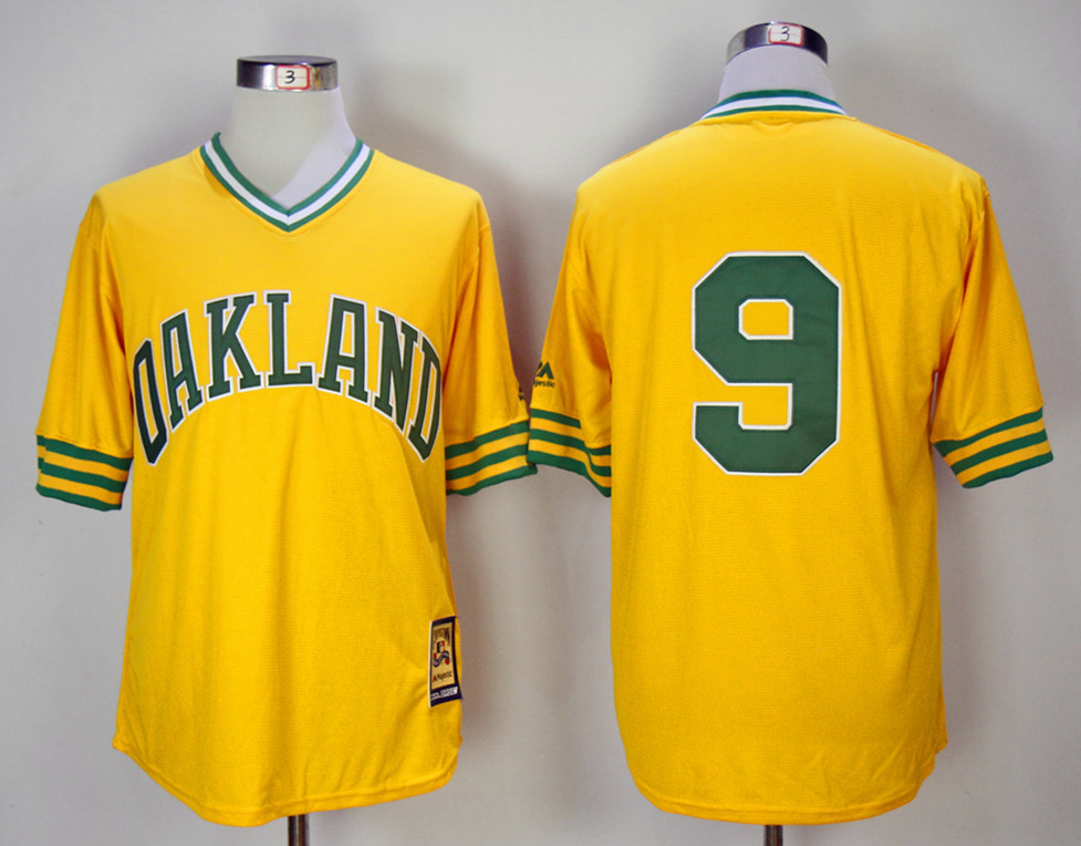 Athletics 9 Reggie Jackson Yellow 1981 Mitchell & Ness Jersey