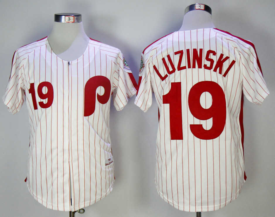 Phillies 19 Greg Luzinski White 1983 Mitchell & Ness Jersey