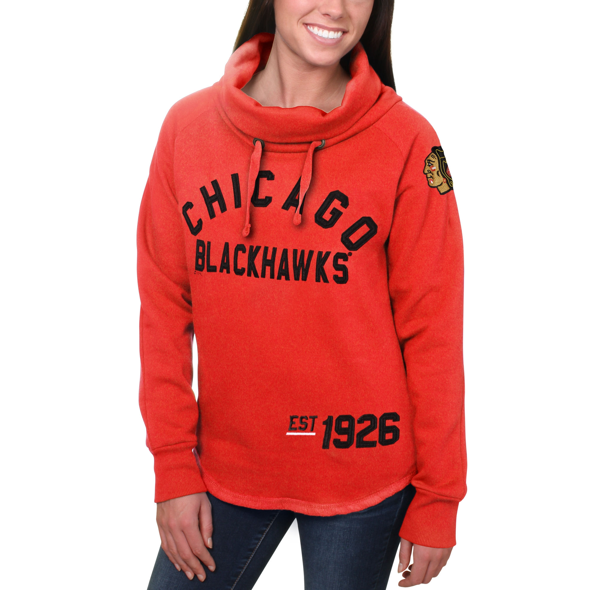 Blackahawks Red Women's Customized All Stitched Hooded Sweatshirt