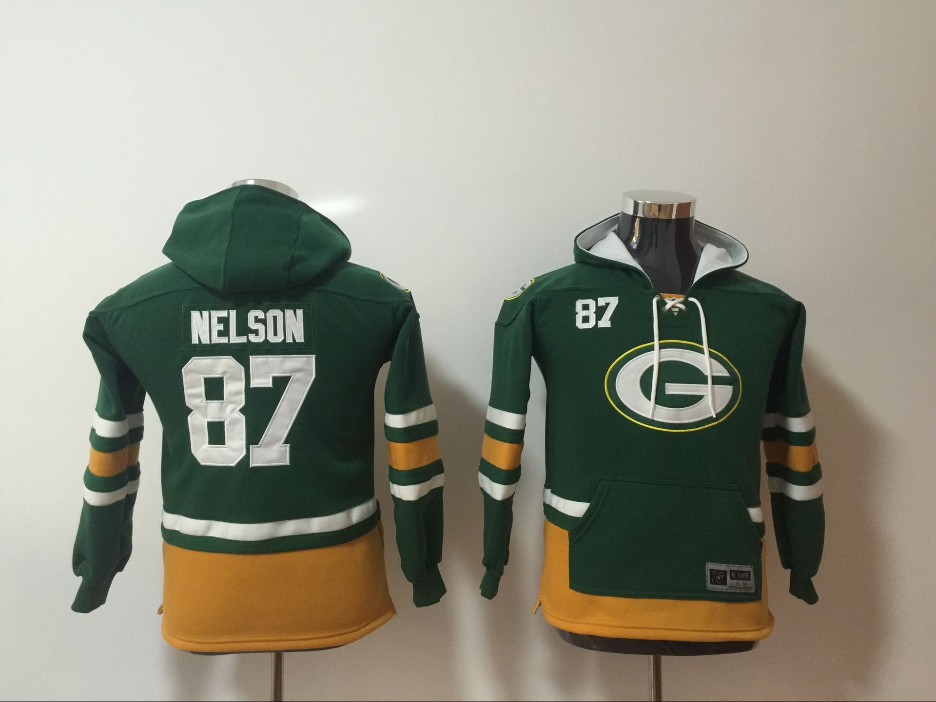 Green Bay Packers 87 Jordy Nelson Green Youth All Stitched Sweatshirt