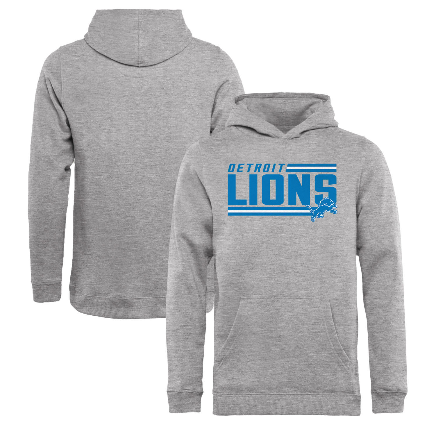 Youth Detroit Lions NFL Pro Line by Fanatics Branded Ash Iconic Collection On Side Stripe Pullover Hoodie