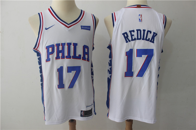 76ers 17 J.J. Redick White Nike Authentic Jersey