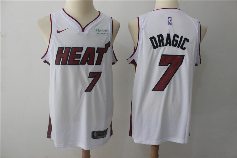 Heat 7 Goran Dragic White Nike Authentic Jersey