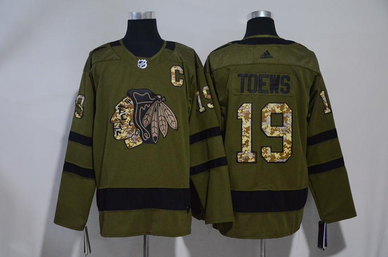 Blackhawks 19 Jonathan Toews Olive Adidas Jersey
