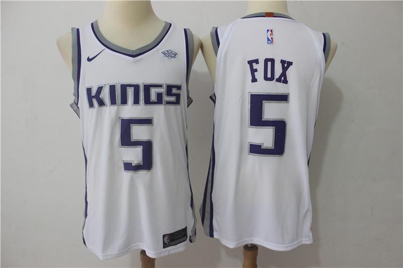 Kings 5 De'Aaron Fox White Nike Authentic Jersey