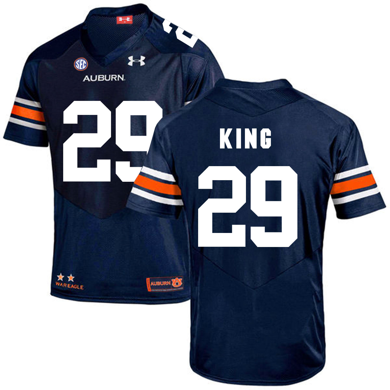 Auburn Tigers 29 Brandon King Navy College Football Jersey