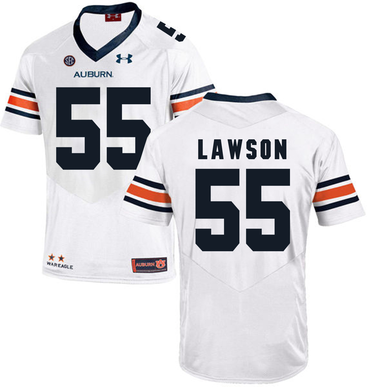 Auburn Tigers 55 Carl Lawson White College Football Jersey