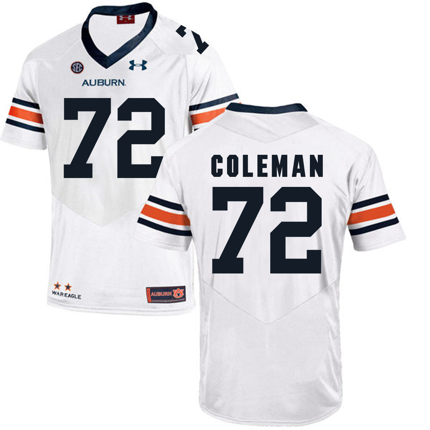 Auburn Tigers 72 Shon Coleman White College Football Jersey
